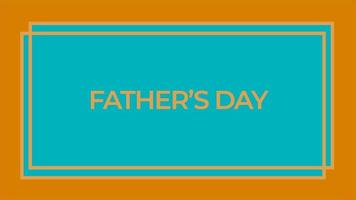animação texto dia dos pais em fundo laranja moda e minimalismo com moldura geométrica