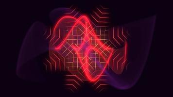 animação neon abstrato ondas vermelhas, fundo motion disco