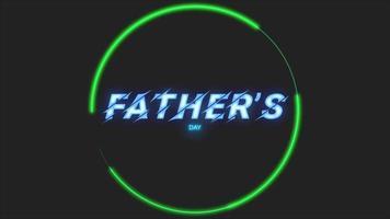 animação texto dia dos pais sobre fundo de moda e clube com círculo de néon verde brilhante