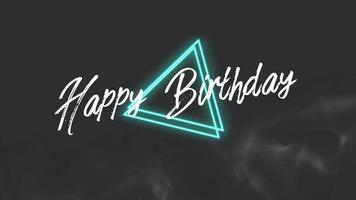 Animation text Happy Birthday and motion abstract neon shape, disco background video
