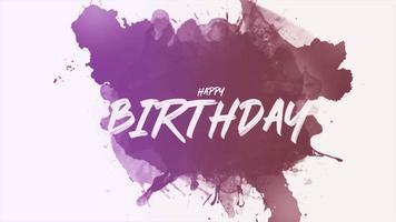 Texte d'introduction d'animation joyeux anniversaire sur hipster blanc et fond grunge avec pinceau violet video