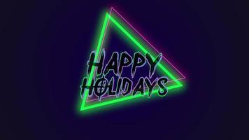 Animation text Happy Holidays and motion abstract geometric traingles, disco background video