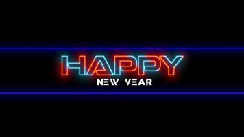 texto de animação feliz ano novo na moda e plano de fundo do clube com texto brilhante em vermelho e azul