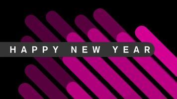 texto de introducción de animación feliz año nuevo sobre fondo negro de moda y minimalismo con rayas púrpuras
