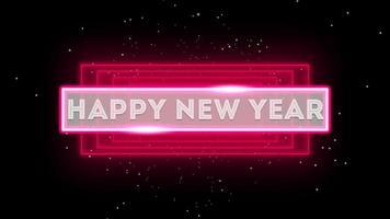 texto de introdução de animação feliz ano novo na moda e plano de fundo do clube com linhas vermelhas brilhantes na galáxia