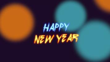 Animations-Intro-Text Frohes neues Jahr auf Mode- und Clubhintergrund mit leuchtenden grünen und gelben Punkten