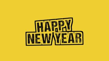 animatie intro tekst gelukkig nieuwjaar op gele hipster en grunge achtergrond met stippen en ruis