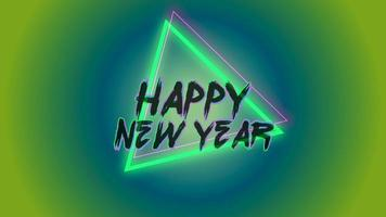 Animation intro text Happy New Year on fashion and club background with glowing green triangle video