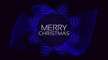 Animation intro text Merry Christmas on fashion and club background with glowing blue waves video