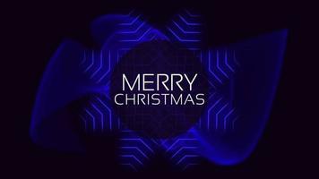 animação texto de introdução feliz natal sobre moda e plano de fundo do clube com ondas azuis brilhantes video