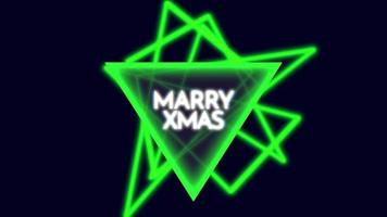 Animation intro text Merry Xmas on fashion and club background with glowing triangle video