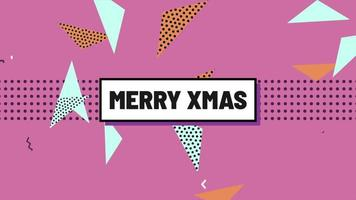 Animation text Merry Xmas and motion abstract geometric shapes, Memphis background video