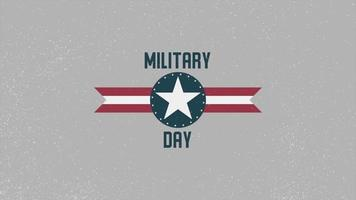 Animation text Military Day on military background with airplane stamp video