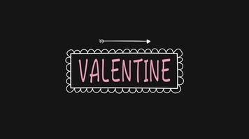 texto animado closeup de dia dos namorados e movimento romântico seta no fundo do dia dos namorados video
