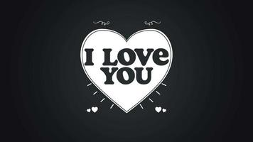 Animated closeup I Love You text and motion romantic big hearts on Valentines day background video