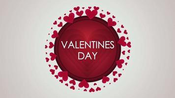 animierte Nahaufnahme Valentinstag Text und Bewegung kleine rote Herzen auf Valentinstag Hintergrund