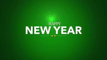 animierte Nahaufnahme Frohes Neues Jahr Text mit Schneeflocken und Sternen auf Winterferien Hintergrund