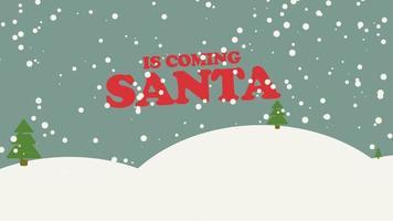 O papai noel animado está chegando texto e floresta de neve com árvores e montanhas, plano de fundo do feriado