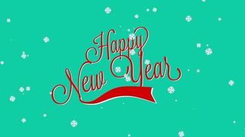 animierte Nahaufnahme Frohes Neues Jahr Text mit Schneeflocken auf Winterferien Hintergrund
