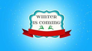 closeup animado, o inverno está chegando, voe flocos de neve brancos e veados no fundo de neve com o banner retrô