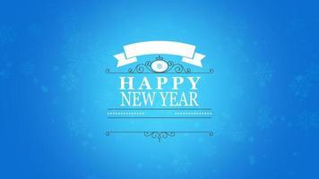 animierte Nahaufnahme Frohes Neues Jahr Text und Schneeflocke auf schneeblauem Hintergrund