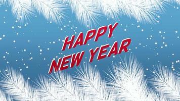 animierte Nahaufnahme Frohes Neues Jahr Text und Winterlandschaft mit Schneeflocken und Weihnachtsbaumzweigen auf Feiertagshintergrund