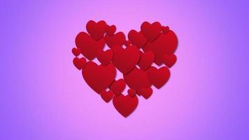 animierte romantische rote Herzen der Nahaufnahme auf lila Valentinstaghintergrund