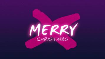 Animation intro text Merry Christmas on fashion and club background with glowing cross video
