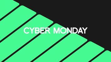 texto de introducción de animación cyber monday sobre fondo negro de moda y minimalismo con rayas verdes geométricas