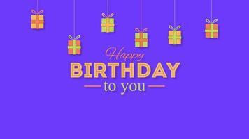 Texte de joyeux anniversaire agrandi animé avec des cadeaux sur fond de vacances