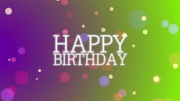 closeup animado texto de feliz aniversário com bokeh no fundo do feriado video