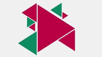 movimento introdução geométrica triângulos vermelhos e verdes, fundo abstrato video