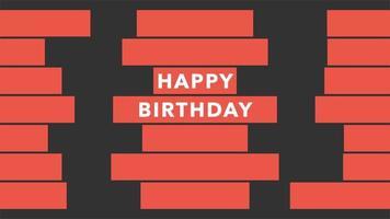 texto de animação feliz aniversário em fundo preto de moda e minimalismo com listras geométricas laranja