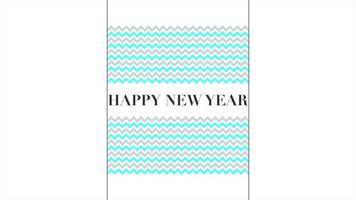 texto de introdução de animação feliz ano novo em fundo de moda branca e minimalismo com ondas azuis e cinza