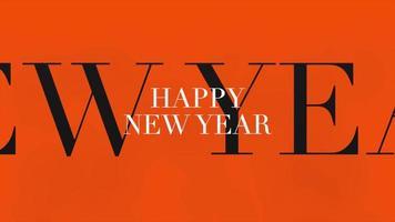 texto de introdução de animação feliz ano novo em fundo laranja fashion e minimalismo
