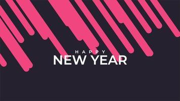 texto de animação feliz ano novo em fundo preto de moda e minimalismo com listras vermelhas