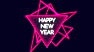 Animation text Happy New Year on fashion and club background with glowing red triangles video