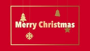 animierte Nahaufnahme frohe Weihnachtstext und Weihnachtsspielzeug und Schneeflocken auf rotem Feiertagshintergrund