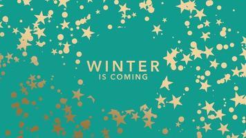 Texto animado closeup inverno está chegando e flocos de neve e estrelas dourados no fundo do feriado de inverno video