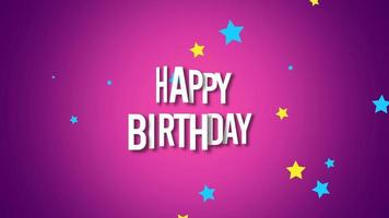 closeup animado texto de feliz aniversário com confetes de estrelas no fundo do feriado video