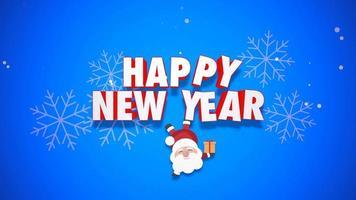Animation en gros plan texte de bonne année et le père Noël avec des coffrets cadeaux sur fond bleu