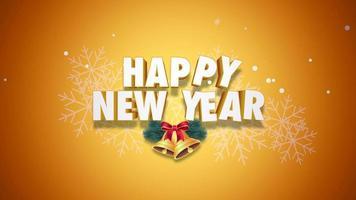closeup animado texto de feliz ano novo e sinos em fundo amarelo