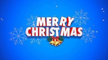 closeup animado com texto de feliz natal e sinos em fundo azul