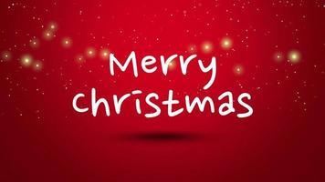 closeup animado texto de feliz natal em fundo vermelho