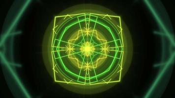 mouvement forme géométrique néon coloré dans l'espace, fond abstrait video