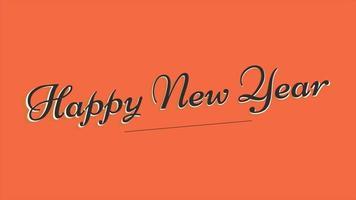 texto de introdução de animação feliz ano novo em fundo laranja fashion e minimalismo video