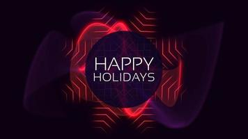 Animation text Happy Holidays and motion abstract geometric circles, disco background video