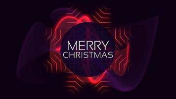 animação texto feliz natal na moda e plano de fundo do clube com círculos vermelhos brilhantes video