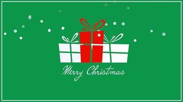closeup animado texto de feliz natal, três caixas de presente em fundo verde video