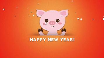 closeup animado texto de feliz ano novo e porco engraçado video
